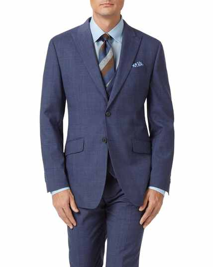 Airforce blue slim fit Panama check business suit jacket