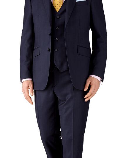 Ink blue classic fit birdseye travel suit jacket
