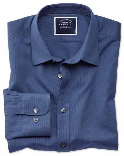 Classic fit royal blue soft textured shirt