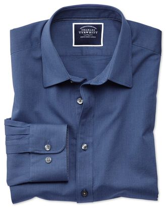Slim fit royal blue soft textured shirt