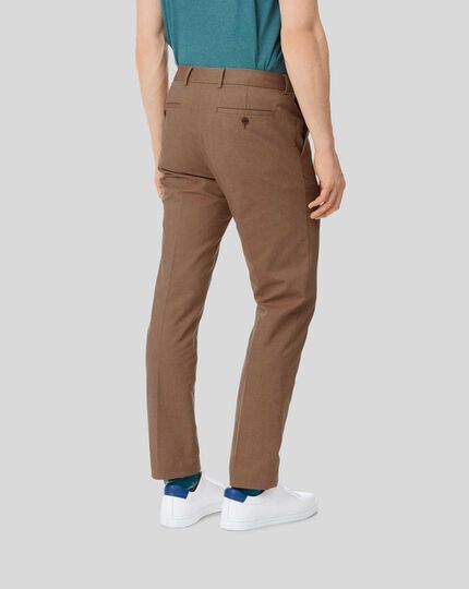 Cotton Linen Stretch Pants - Ochre