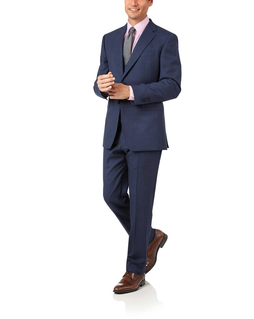 Airforce blue slim fit sharkskin travel suit