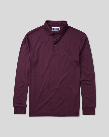 Cotton TENCEL™ Mix Long Sleeve Pique Polo - Wine