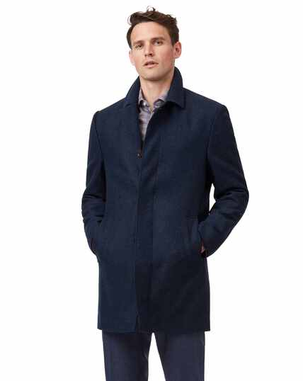 Navy textured wool car coat