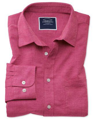 Classic fit cotton linen bright pink plain shirt