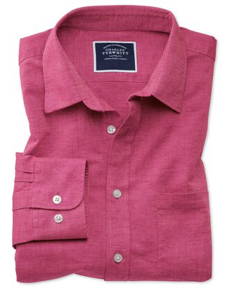 Slim fit cotton linen bright pink plain shirt