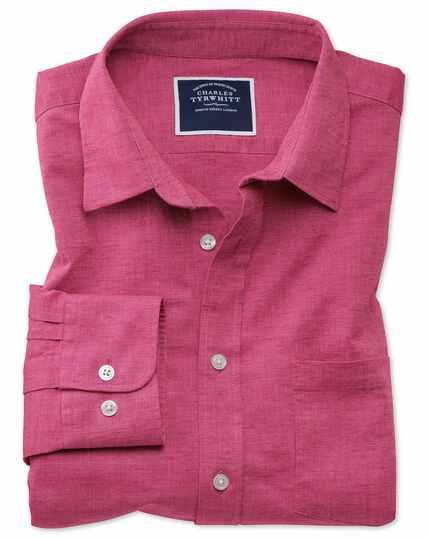 Slim fit bright pink cotton linen shirt