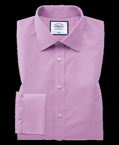 Slim fit non-iron violet poplin shirt