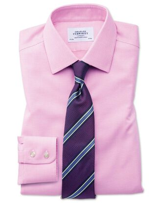 Slim fit non-iron square weave pink shirt