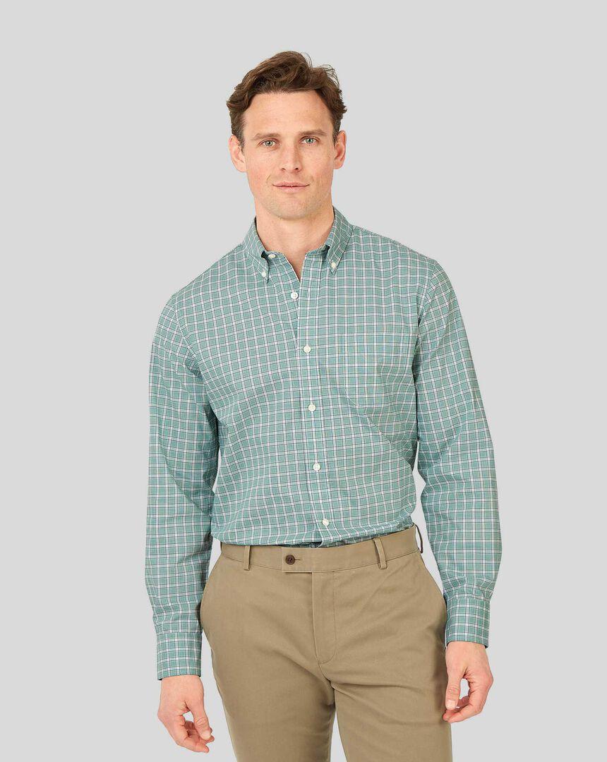 Bügelfreies Popeline-Hemd aus Fil-à-Fil-Stretchgewebe mit Button-down-Kragen und Karos - Grün