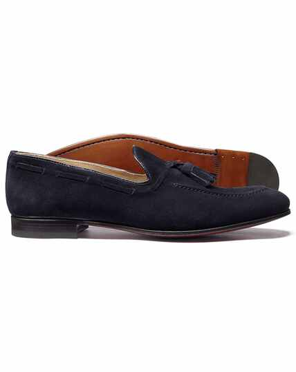 Navy suede tassel loafer