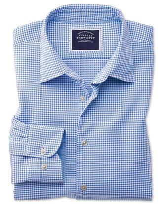 Classic Fit Hemd aus Strukturgewebe in Blau mit Karos