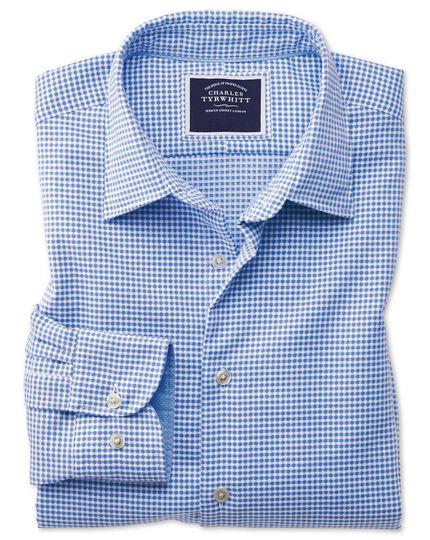 Chemise bleue slim fit à carreaux en tissu délavé texturé