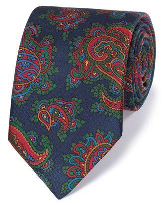 Cravate de luxe bleu marine et rouge en soie anglaise à motif cachemire
