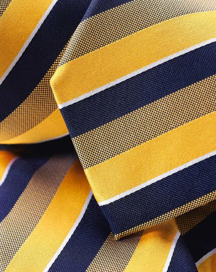 Silk Satin Stripe Tie - Gold