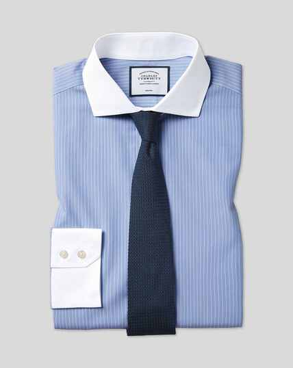 Cutaway Collar Non-Iron Winchester Stripe Shirt- Blue & White