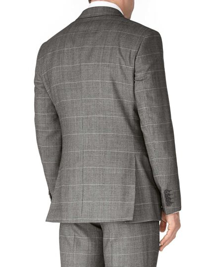 Grey check slim fit twill business suit jacket