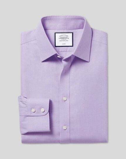 Non-Iron Mini Herringbone Shirt - Lilac