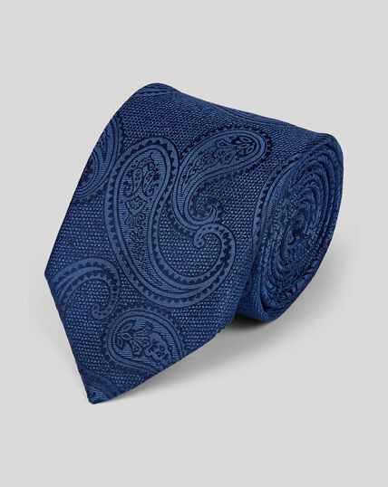 Cravate classique en soie à motif cachemire ton sur ton - Bleu marine