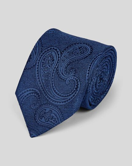 Silk Tonal Paisley Classic Tie - Navy