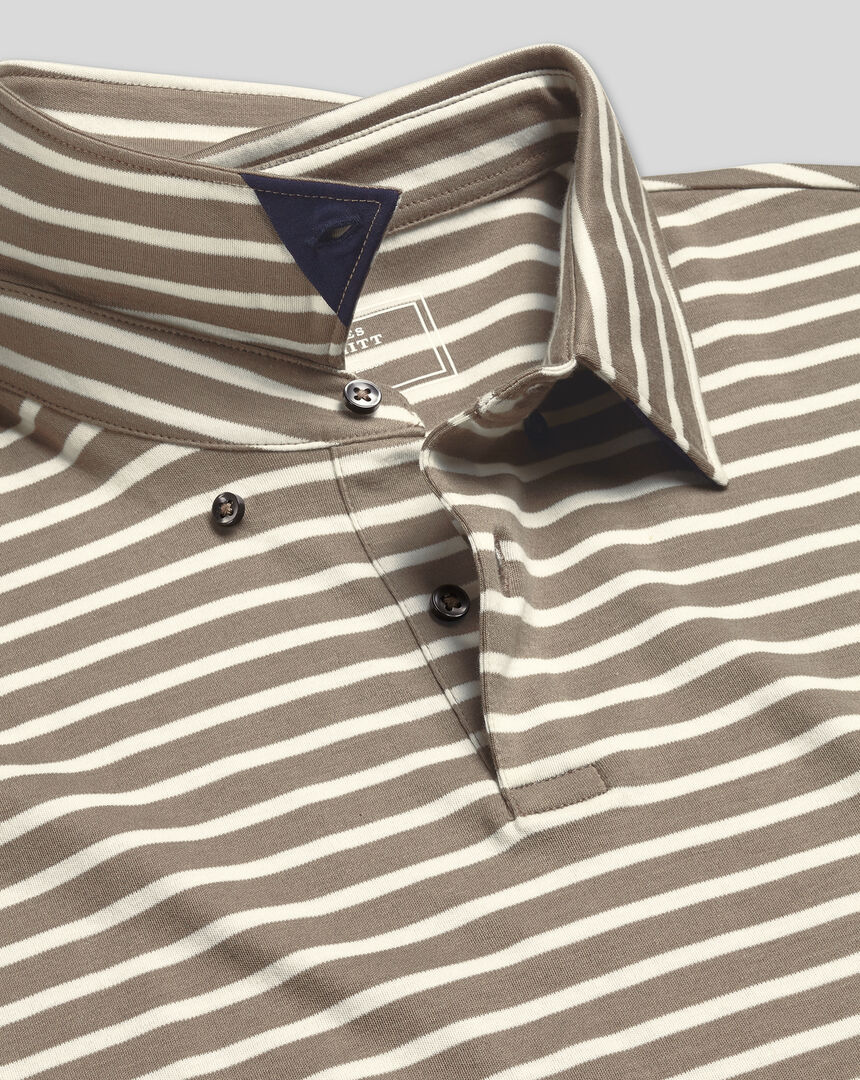 Smart Jersey Stripe Polo - Mocha & White