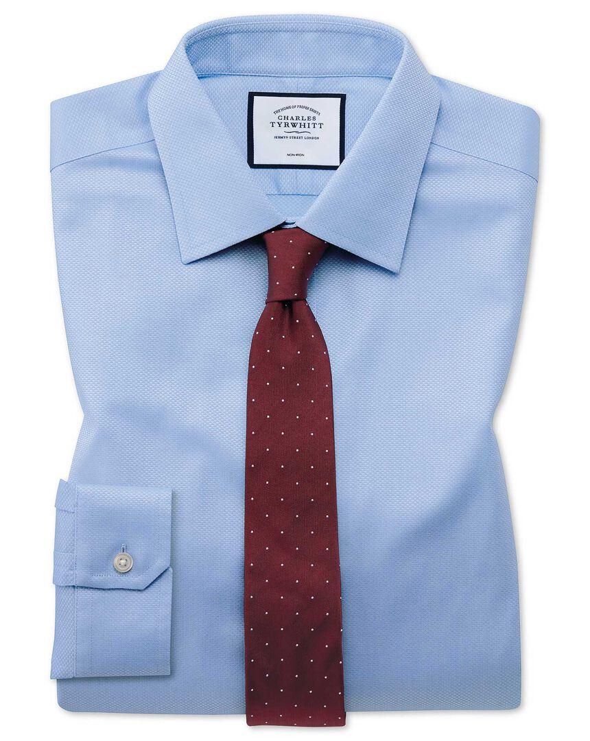 Super slim fit non-iron sky blue triangle weave shirt