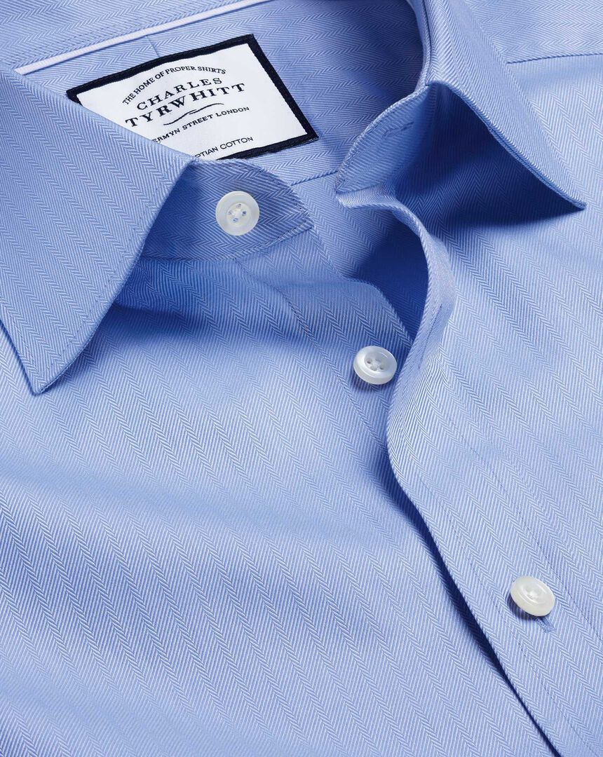 Semi-Cutaway Collar Egyptian Cotton Herringbone Shirt - Sky