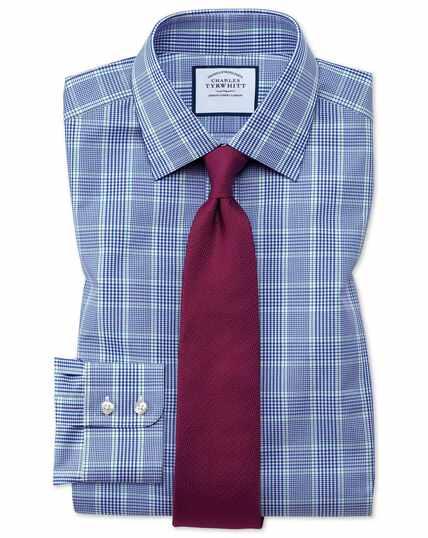 Blauw-groen, geruit Prince of Wales-overhemd met slanke pasvorm