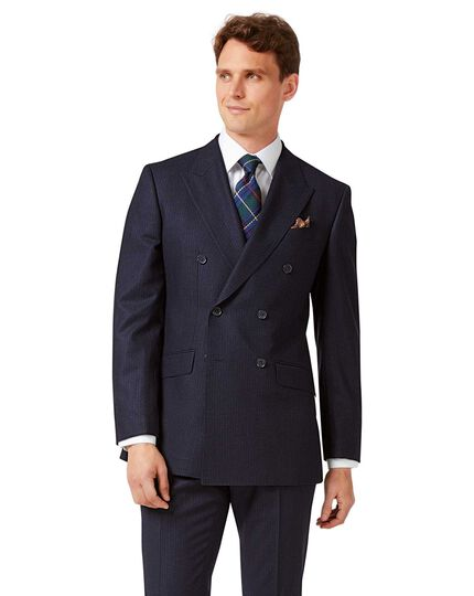 Navy stripe slim fit double breasted flannel business suit jacket