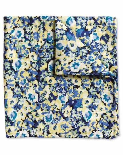 Einstecktuch Baumwolle/Seide mit Blumenmuster in Gelb & Bunt
