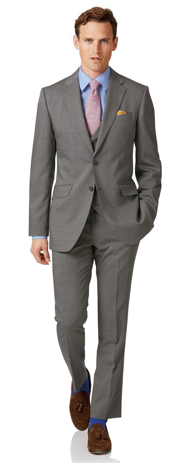 Silver slim fit step weave suit