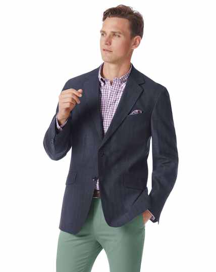 Classic fit navy cotton linen jacket