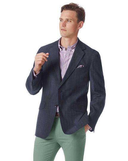 Classic fit navy cotton linen jacket