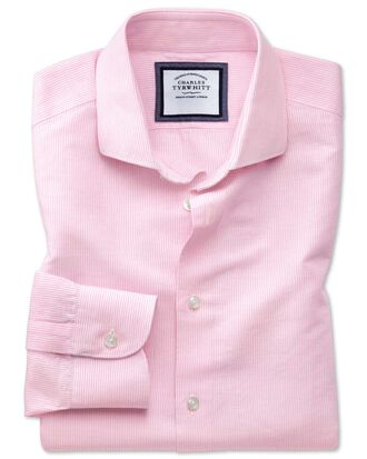 Slim fit cutaway business casual linen cotton pink and white shirt