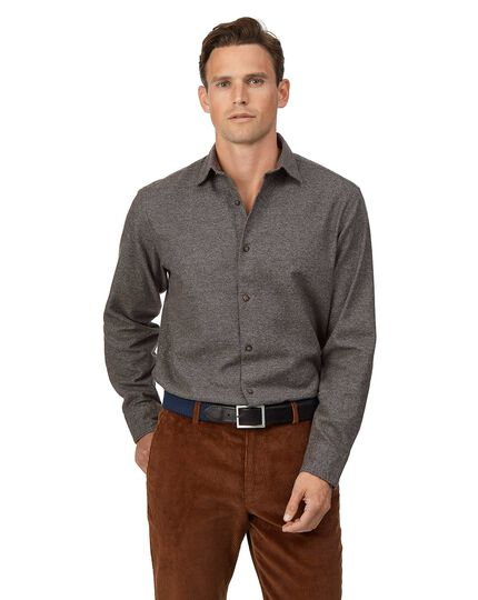 Classic fit winter flannel puppytooth brown shirt