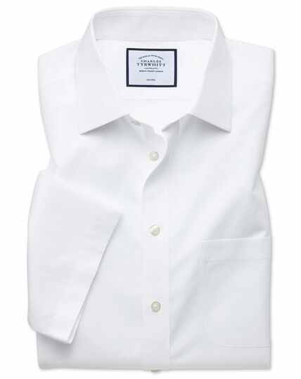 Slim fit non-iron white Tyrwhitt Cool short sleeve shirt