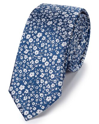Blue and white silk slim end-on-end floral classic tie