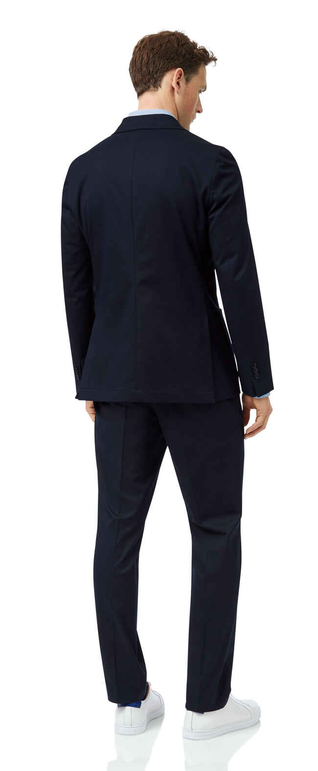 Navy slim fit Italian cotton suit
