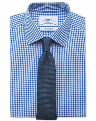 Extra slim fit gingham royal blue shirt