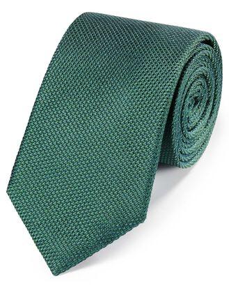 Mid green silk plain classic tie