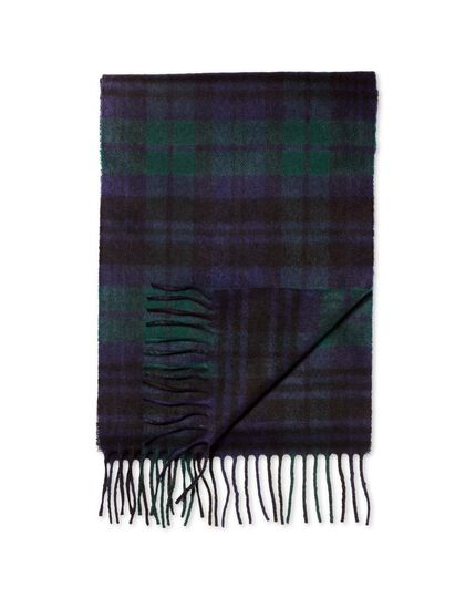 Black watch tartan cashmere and merino scarf