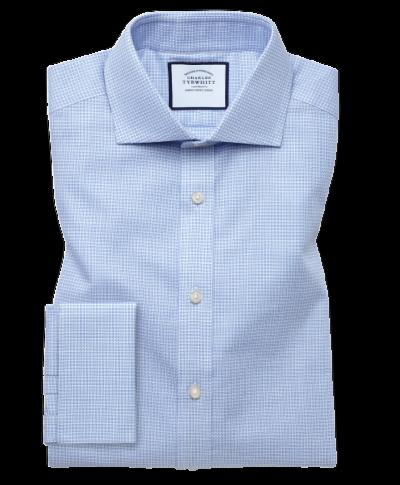 Extra slim fit cutaway textured puppytooth sky blue shirt
