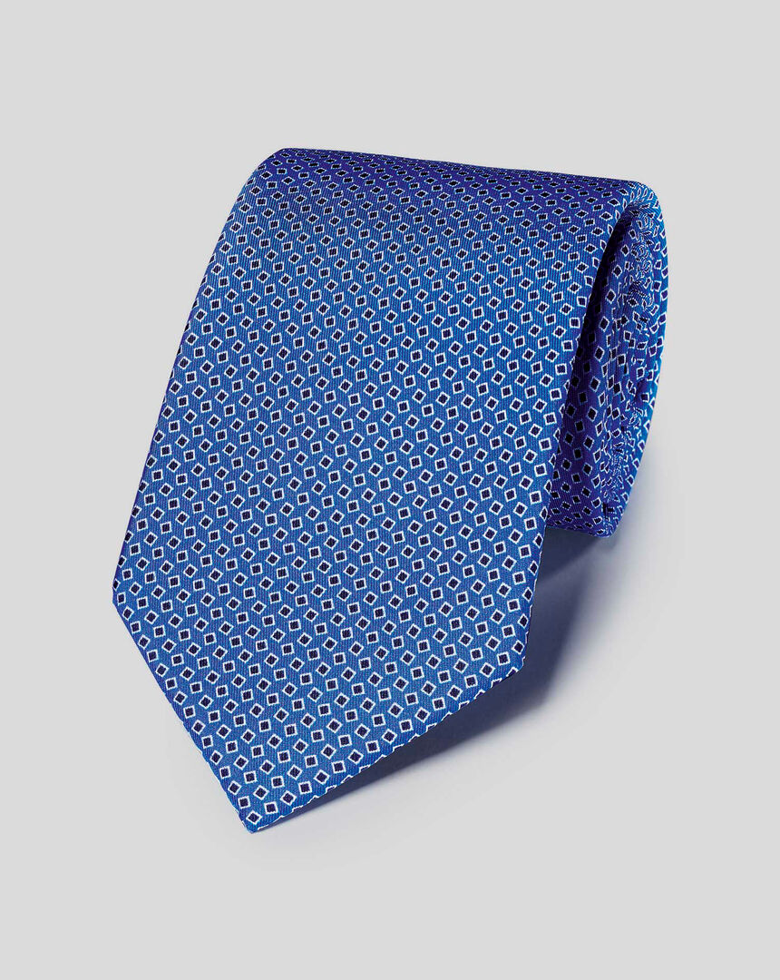 Silk Geometric Print Tie - Royal Blue