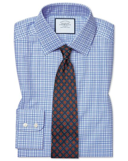 Classic fit brushed-back basketweave blue check shirt