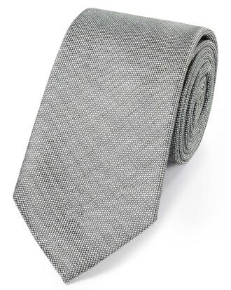 Grey linen silk plain classic tie