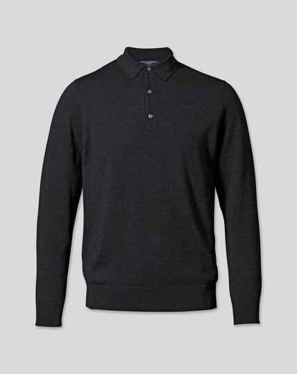 Merino Polo Sweater - Dark Charcoal
