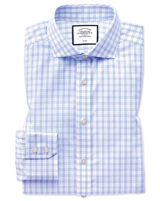 Slim fit spread collar non-iron natural cool sky blue and white check shirt