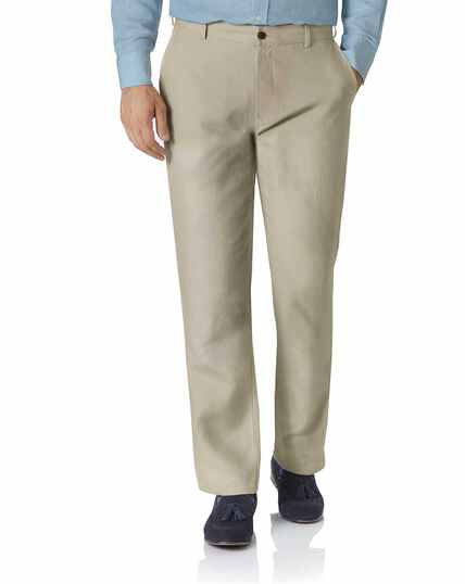Stone classic fit easy care linen trousers