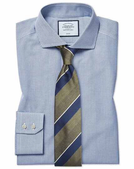 Classic fit non-iron spread collar Tyrwhitt Cool poplin check blue shirt