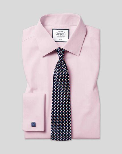 Chemise à Petits Losanges et col classique sans repassage - Rose